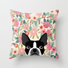 Boston Terrier floral dog head cute pet portrait gifts for boston terriers must haves Throw Pillow