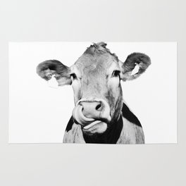 Cow photo - black and white Rug