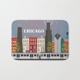 Chicago, Illinois - Skyline Illustration by Loose Petals Bath Mat