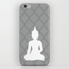 Grey and White Buddha iPhone Skin