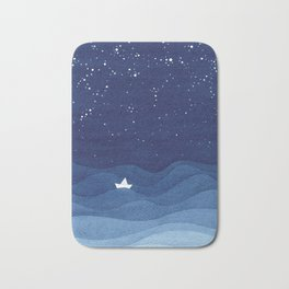 blue ocean waves, sailboat ocean stars Bath Mat