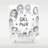 cactei Shower Curtains featuring GRLPWR by ☿ cactei ☿