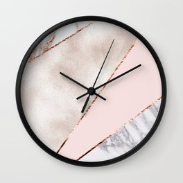 Spliced mixed rose gold marble Wall Clock