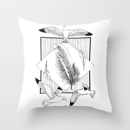 Seagulls with feathers - Ink artwork Throw Pillow