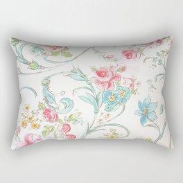 Vintage pink teal watercolor bohemian floral pattern Rectangular Pillow