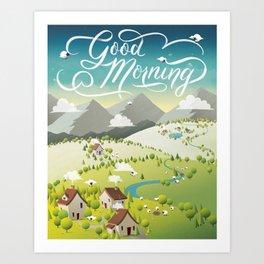Whimsical Sheep Art Print