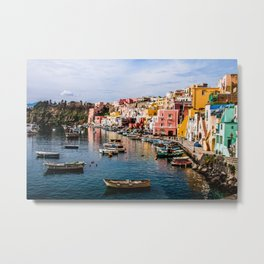Colors of Procida Fishing Port Metal Print