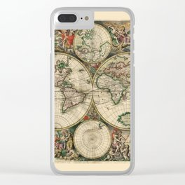 Ancient Map of the World 1689 Clear iPhone Case