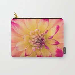 Pink and Yellow Dahlia Carry-All Pouch