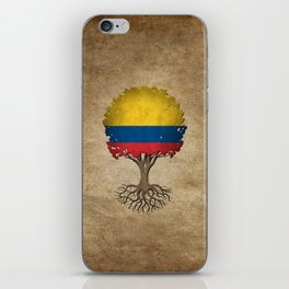 Vintage Tree of Life with Flag of Colombia iPhone Skin