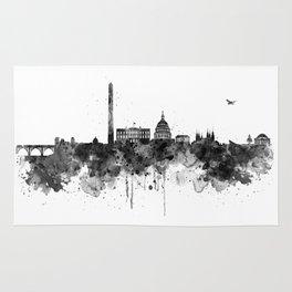 Washington DC Skyline Black and White Rug