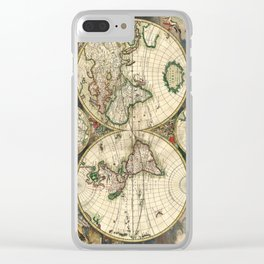 Old map of world (both hemispheres) Clear iPhone Case