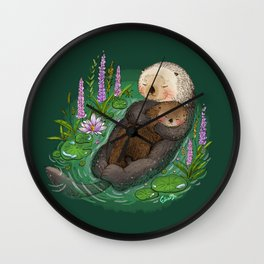 Sea Otter Mother & Baby Wall Clock