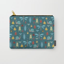 Little Bugs and Mini Beasts on Teal Carry-All Pouch