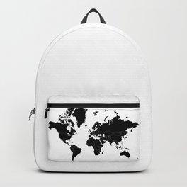 Minimalist World Map Black on White Background Backpack