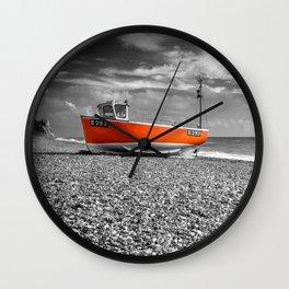 Orange Boat Wall Clock