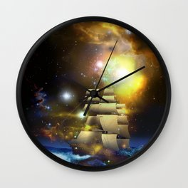 Sail Ship Universe Wall Clock