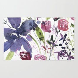 Purple and Red Flowers of July Rug