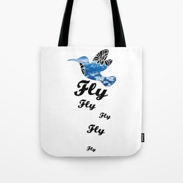 Flying Bird with Clouds Tote Bag