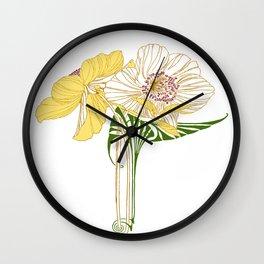 Art Nouveau Poppy Duet by Seasons K Designs Wall Clock