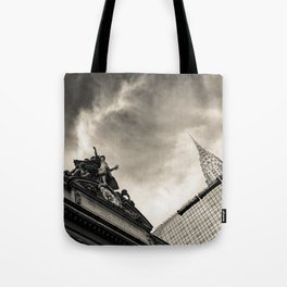 Slice of New York - Grand Central Station, Skyscraper and Office Building in Cream Tones Tote Bag