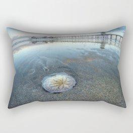 Chris Harsh Photos * A Low Tide Sand Dollar * Huntington Beach Pier  Rectangular Pillow