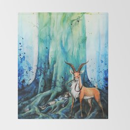 """""""At the tree's feet"""" Throw Blanket"""