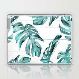 Turquoise Palm Leaves on White Wood Laptop & iPad Skin