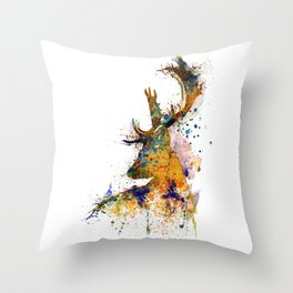 Deer Head Watercolor Silhouette Throw Pillow