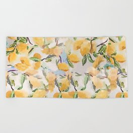 Watercolor Lemons Beach Towel