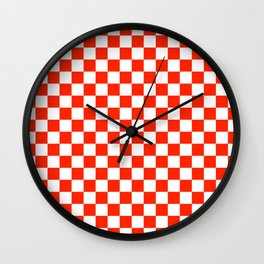 White and Scarlet Red Checkerboard Wall Clock