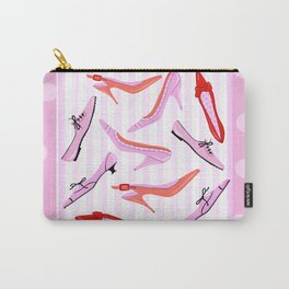 Pink Stiped Shoe And High Heel Pattern Carry-All Pouch