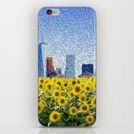 New York City Skyline Oil Paint View from Sunflower Field iPhone Skin