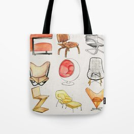 Post Modern Watercolor Chairs Tote Bag
