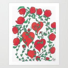 Hearts Bloom Art Print