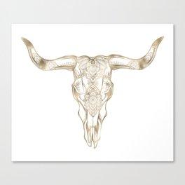 Bull Skull Gold Canvas Print