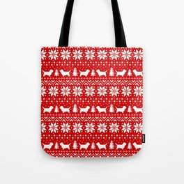 PBGV Silhouettes Christmas Sweater Pattern Tote Bag