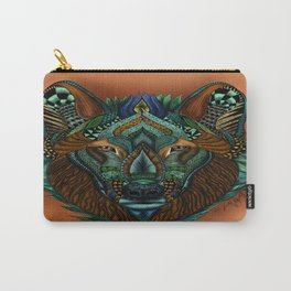 Zentangle Inspired Art-Colored Wolf Carry-All Pouch