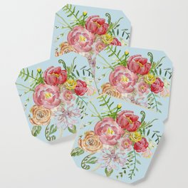 Bouquet of Watercolor on Blue Background Coaster