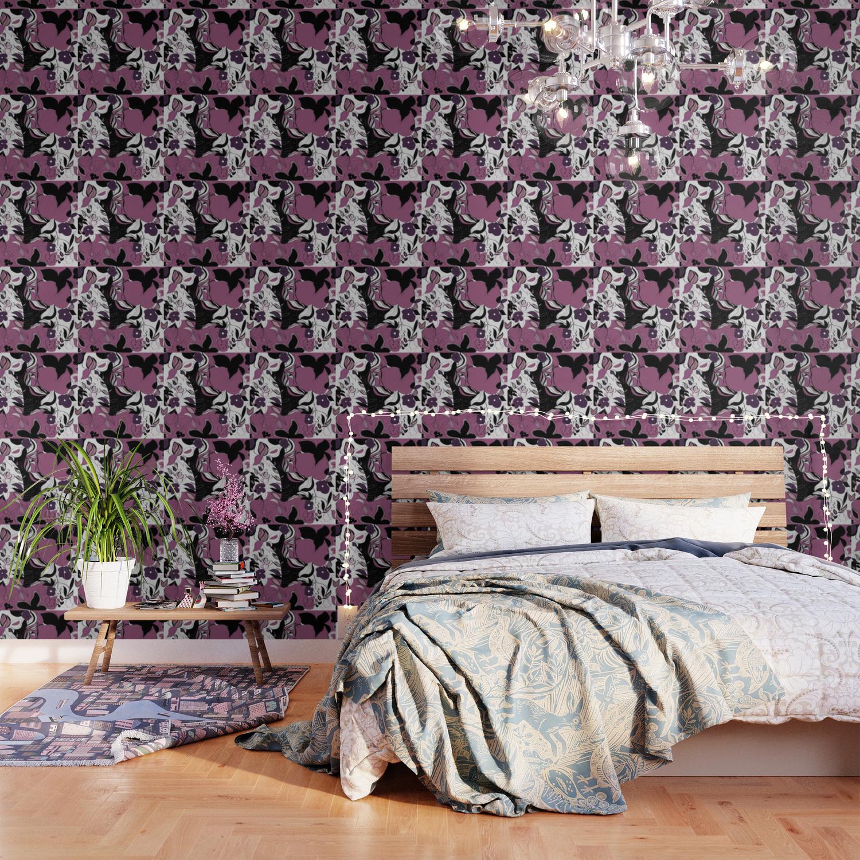Naturshka 27 Flowers Vegetal Girly Purple Black White Wallpaper By