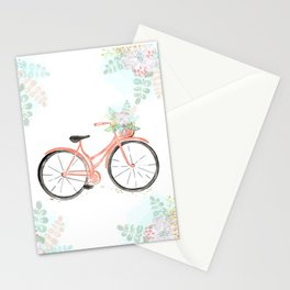 Coral Spring bicycle with flowers Stationery Cards