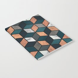 Copper, Marble and Concrete Cubes with Blue Notebook