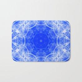 Fractal lace mandala in blue and white Bath Mat