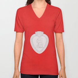 Purple Heart Medal Outline Unisex V-Neck