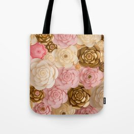 Paper Flowers x Gold Pink Cream Tote Bag