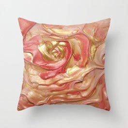 Golden Rose Swirl Throw Pillow