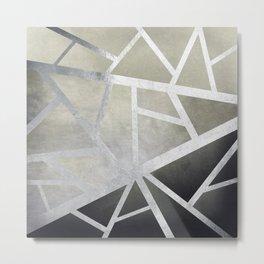 Textured Metal Geometric Gradient With Silver Metal Print