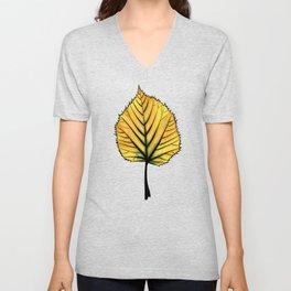 Yellow Linden Leaf On Orange Botanical Art Unisex V-Neck