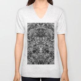 Mirrored Black and White Cityplan Unisex V-Neck