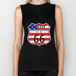 Route 66 Highway Sign With Flag Biker Tank